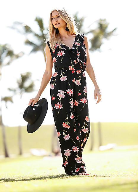 d940216175 Floral Jersey Jumpsuit by BODYFLIRT